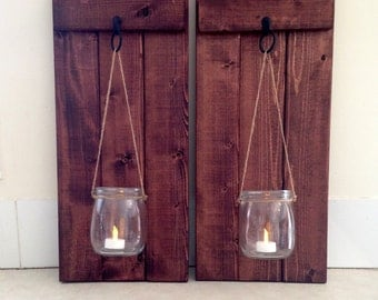 "Rustic Wall Decor, Wooden Candle Holder, Mason Jar Candle Holder, Wooden Wall Sconce, Rustic Home Decor, Wall Sconce, Set of 2,  10""x20""!"