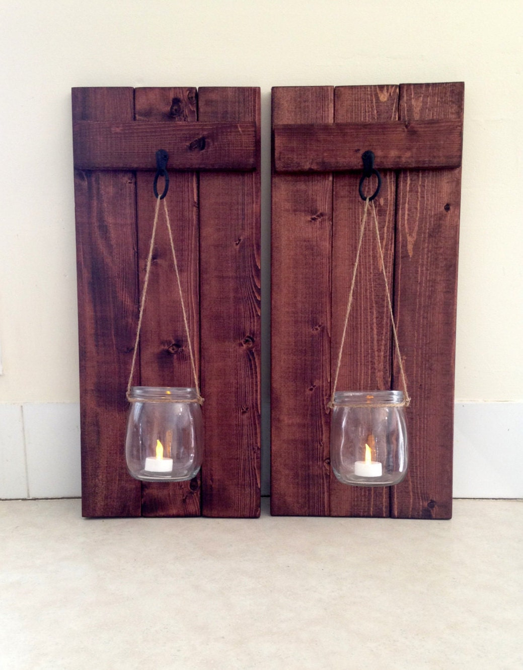 Rustic wall decor wooden candle holder mason jar candle zoom amipublicfo Image collections
