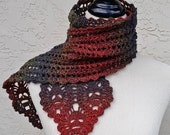SKULLS SCARF - Lace and Skull Crocheted Scarf, 100% Wool
