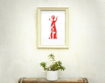 Goddess art, wood print, red print, woman print, 8 11 inch, folk art, gift under 20, wall decor, primitive art, russian woman, red woman