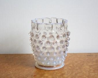 Vintage Opalescent White Hobnail Vase