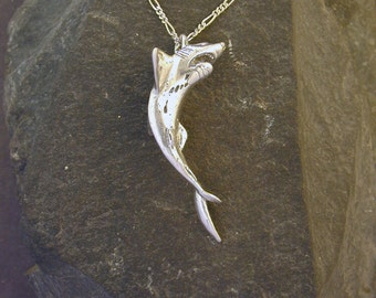 Sterling Silver Large Shark Pendant on a Sterling Silver Chain