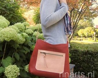 Hobo bag / Messenger bag / cross body bag BIG Hobo in rust brown Italian leather and natural vegtan leather strap    PROMOTION SALE