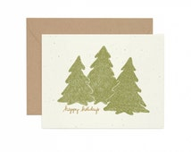 Hand Illustrated, Recycled Holiday Card - Happy Holidays Evergreen Forest on Ivory Paper - Boho Chic - Non-denominational Holiday