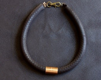 LUXE Black Leather Look Fabric Rope Necklace with Copper Accent