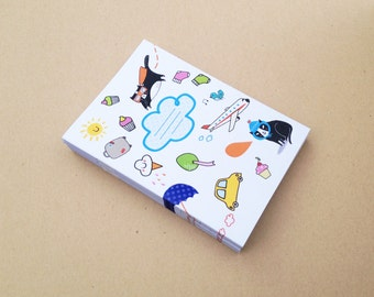 Kawaii notepad sketch book A6 - travel and adventure - blank - recycled pages