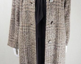 Original 1940s Vintage Oatmeal Irish Tweed Wool Overcoat UK Size 14
