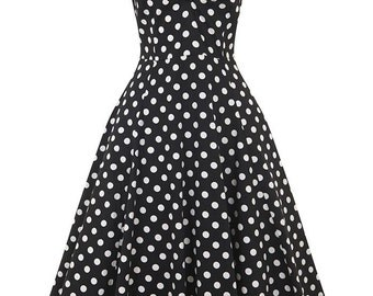 New Vintage Style Dolores Black Polka Dot Swing Dress Rockabilly Pin Up 50s