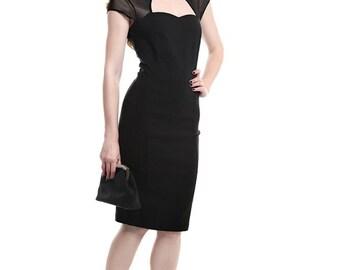 New Vintage Style Retro 40s/50s Style Black Roxy Pencil/Wiggle Dress