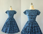 Vintage 50s Dress/ 1950s Cotton Dress/ Mode O' Day Navy Blue Spotted & Striped Cotton Dress w/ Waist Tie S/M