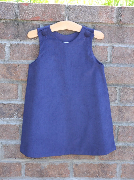 Girls Navy Corduroy Jumper Dress, add Monogrammed or Applique with purchase of upgrade