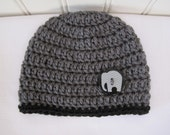 Baby Hat - Crochet - Boys Hat - Winter Hat - Charcoal Grey Hat - Newborn Hat with or without Elephant Button - in sizes Newborn to 6 Months