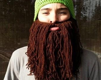 The Mans Bearded Beanie, custom size and color, beard hat