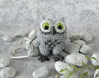Mini Owl, keyring pendant with snap hook, small stuffed toy, gift idea for bird lovers, funny accessory baby owl, cute grey birdie owlet