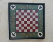 Primitive Wood Checkerboard Game Board Folk Art  Miniature Limited Edition Wood Gameboard