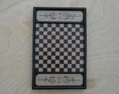 Primitive Wood Checkerboard Game Board Folk Art Miniature Limited Edition