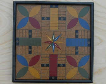Parcheesi, Miniature, Game Board, Wood, Hand Painted, Folk Art, Primitive, Game Boards, Wooden