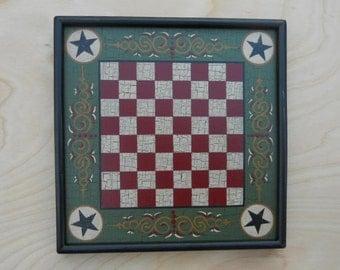 Miniature, Checker Board, Wood, Checkerboard, Wooden, Primitive, Folk Art, Salesman sample, Hand Painted