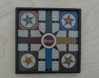 Primitive Wood Parcheesi Game Board Folk Art Miniature Limited Edition Gameboard
