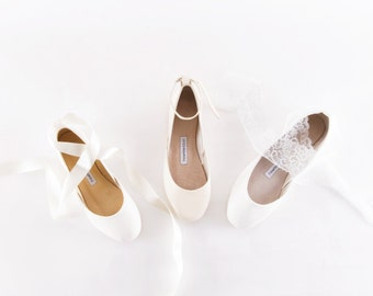 Wedding Ballet Flats | Wedding Shoes Bridal Ballet Slippers | Ivory Wedding Flats White Flats | design your own...made to order