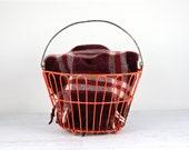 Egg Basket Wire Egg Basket Vintage Egg Basket Orange Basket