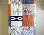 Nature Baby Quilt - Tribal Bear - Rustic, Woodland, Bear, Fox, Mint, Grey, Rust, Navy, Brown, White, Minky Back, Crib Bedding, Nursery
