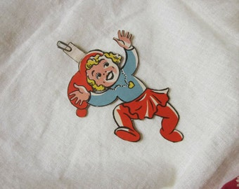 Cute Vintage Christmas Decoration. Bold Lithographic Print Paper Cutout. 1950's Comic Style Girl. Danish. Ephemera.