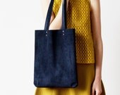 Clearance SALE Navy Blue Suede Tote bag No.Tl- 602