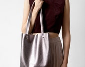 Gunmetal Metallic leather Tote bag No.tlm- 103