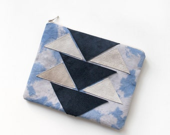 Triangles Leather Cotton Pouch  No. Zps-7200