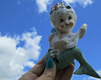 MCM Vintage Mermaid with Ponytail Playing Stringed Instrument Kitschy Bathroom Wall Hanging - Lefton or Bradley Style Musical Mermaid