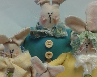 STWOFG Handmade Primitive Spring Holiday Easter Bunny Family Home Decor