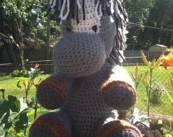 Smokey the crocheted pony