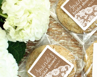 24 Personalized Cellophane Cookie Bags, Candy Bags - Burlap and Lace Label - Rustic Bridal Shower Favor, Wedding Favor - ANY OCCASION