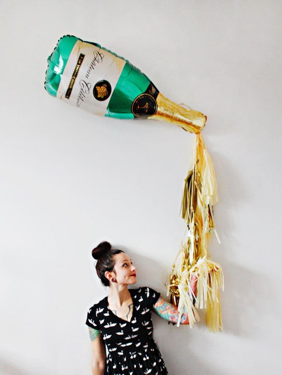 New Years Eve Champagne Bottle Tassel Balloon by pomtree ...