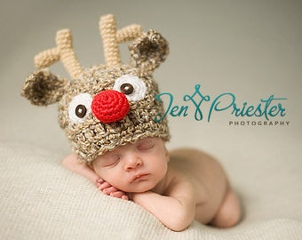 Newborn Reindeer hat, Baby reindeer hat, Christmas hat, Photo prop