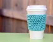 Crocheted Coffee Sleeve in Seaspray Blue- Coffee Cozy- Java Jacket