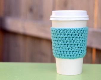 SALE- 35% off- Crocheted Coffee Sleeve in Seaspray Blue- Coffee Cozy- Java Jacket