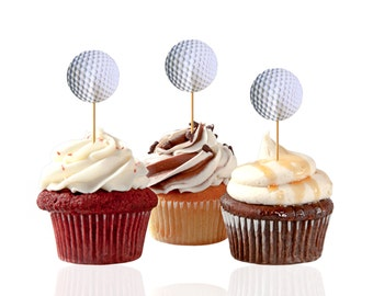24 Golf Ball Cupcake Toppers, Golf Party Decorations