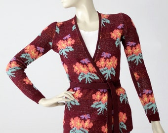 1970s Betsey Johnson Alley Cat wrap sweater, vintage floral top