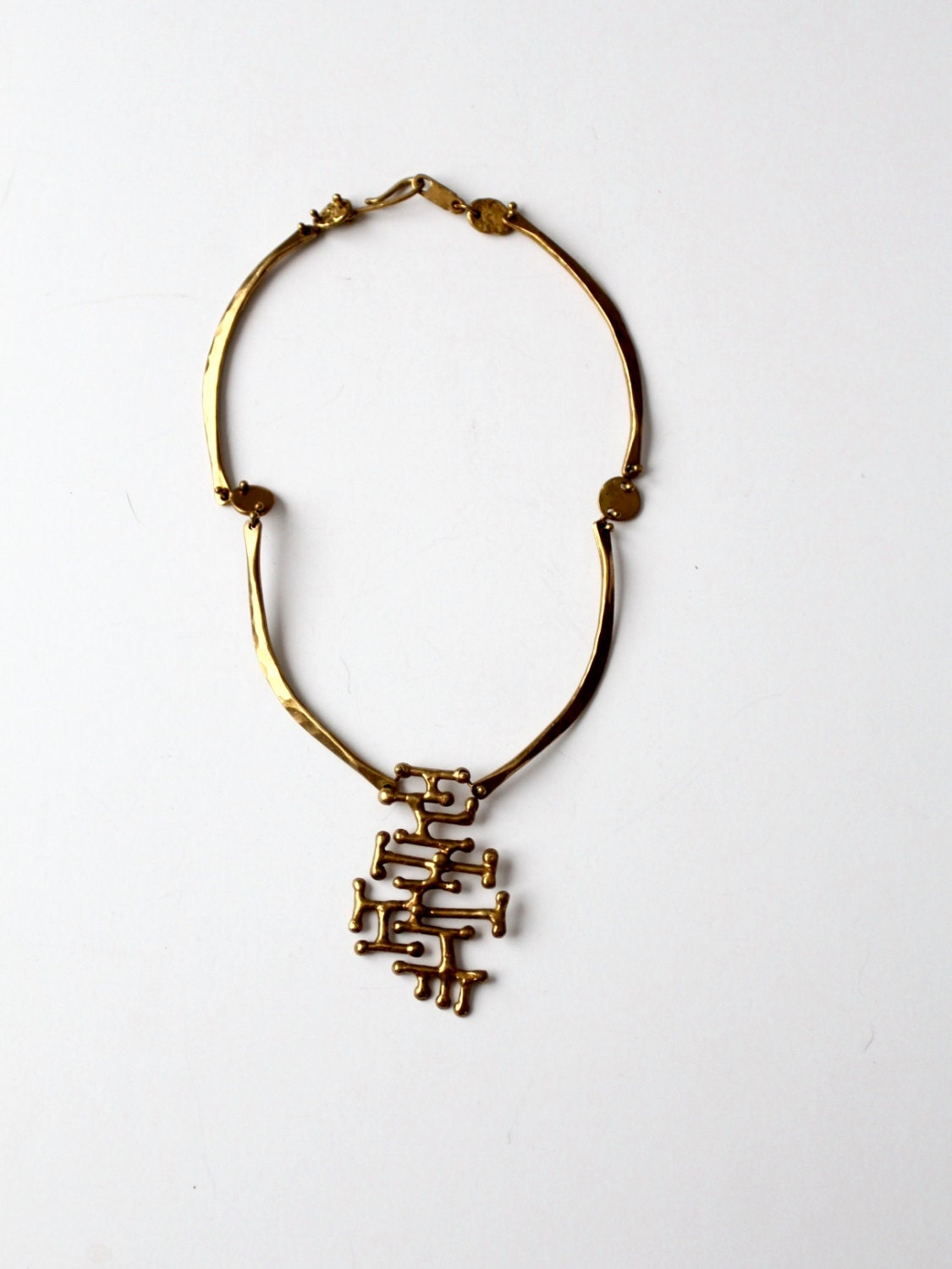 vintage Anne Dick brutalist necklace sculptural bronze