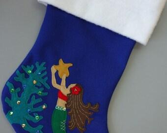 "Mermaid Personalized Christmas Stocking--""Sea-sons Greetings"""