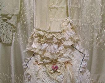 Shabby Cottage Bag handmade eco friendly upcycled vintage embroidery needlepoint cross stitch, white wedding bridal fabric bag