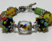 Multi Color Lampwork Beaded Bracelet