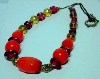 Orange and Gold Ceramic Necklace