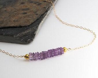 Amethyst Stone Necklace, Amethyst Bar Necklace, Gold Necklace, Gemstone Necklace, Minimalist Necklace, Carrie Style Necklace, Gift Necklace