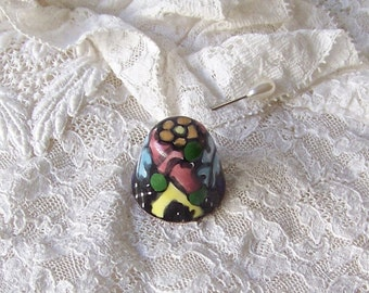 Vintage Thimble Glossy Ceramic Thimble Signed Sewing Room Thimble Collector 1990s