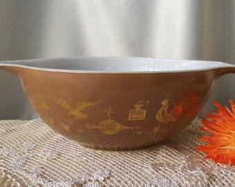 Vintage Pyrex Brown with Gold Early American Pattern 4 Qt. Mixing Bowl 1970s Replacement Bowl