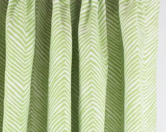 Quadrille Alan Campbell Petite Zig Zag Custom Drapes - (Shown in Jungle Green with Fan Pleating-comes in 15 colors)
