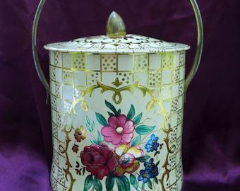 Vintage Gold Floral Round Handle Tin